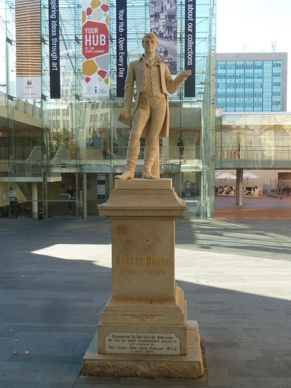 Robert Burns Statue in front of State Library of South Australia, North Terrace, 2014