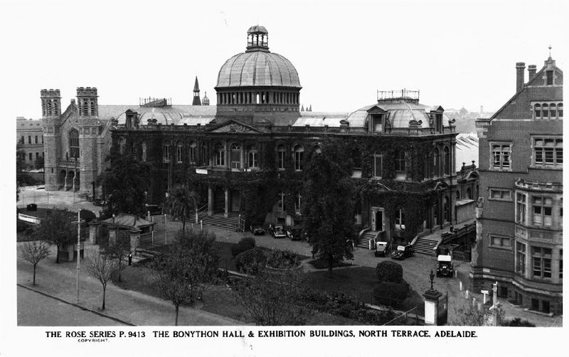 Postcard featuring The Jubilee Exhibition Building, with Bonython Hall and the School of Mines and Industry, North Terrace, c 1945