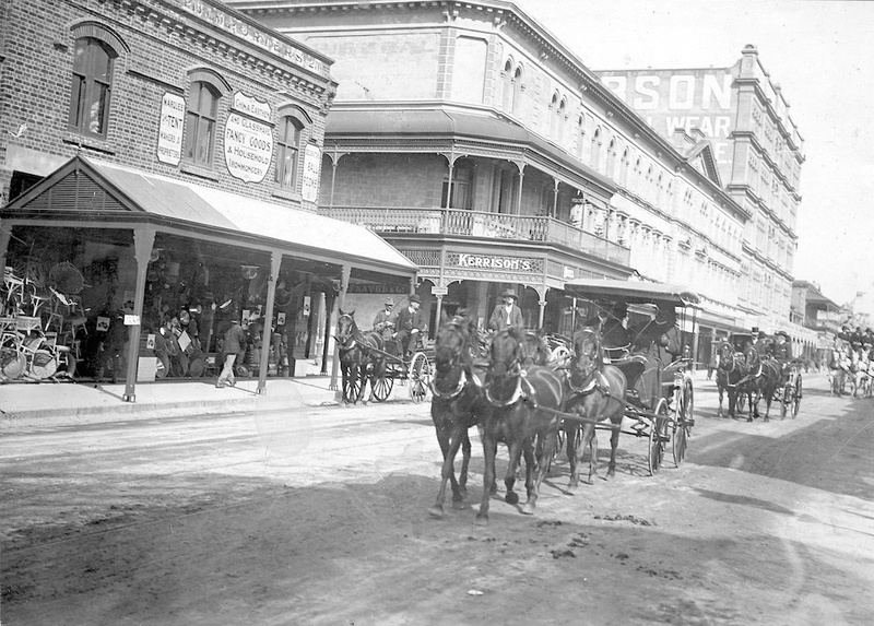 Horse drawn vehicles in Rundle Street in front of the Austral Hotel, 1913. The licensee at the time was M. Kerrison.