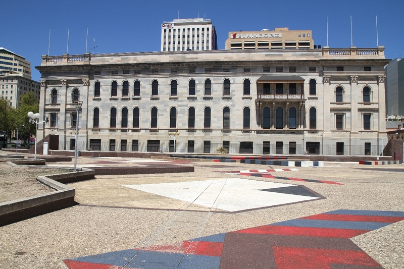 Rear view of Parliament House from the Adelaide Festival Centre precinct, 2014