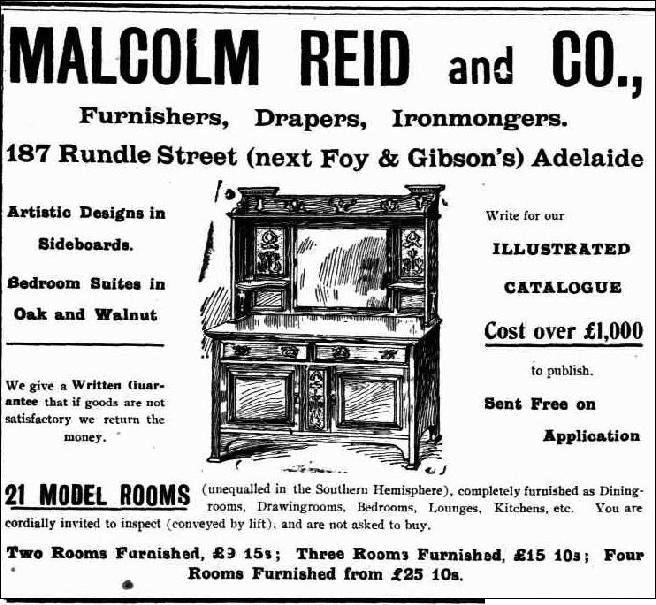 An advertisement for Malcolm Reid and Co.