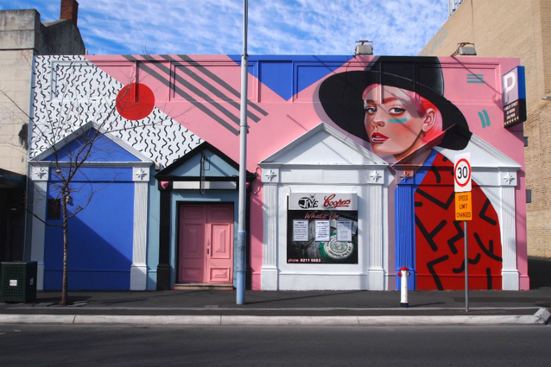 In September 2015, the once bright blue building was transformed with a large 1980s inspired mural by artistLisa King.