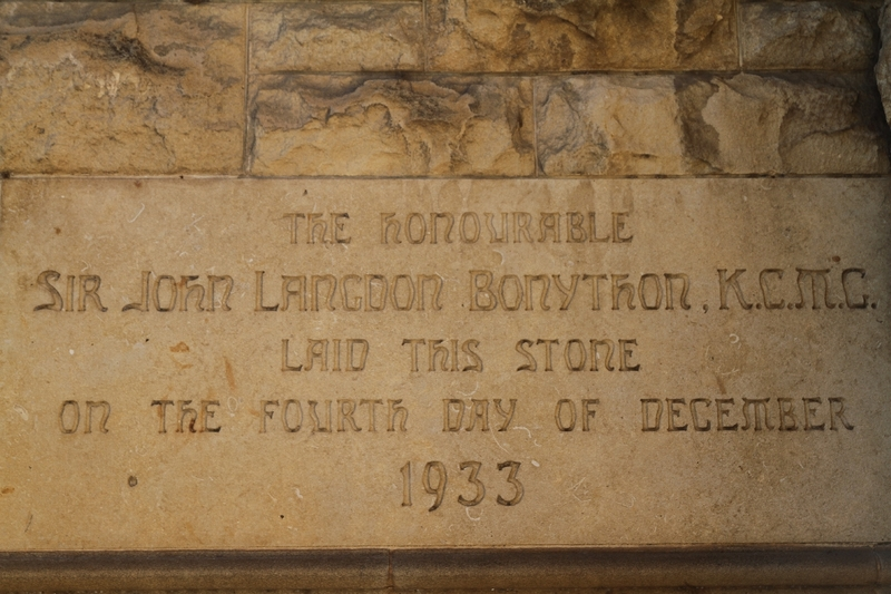 Foundation stone laid by Sir John Langdon Bonython, 1933, Bonython Hall, 2014