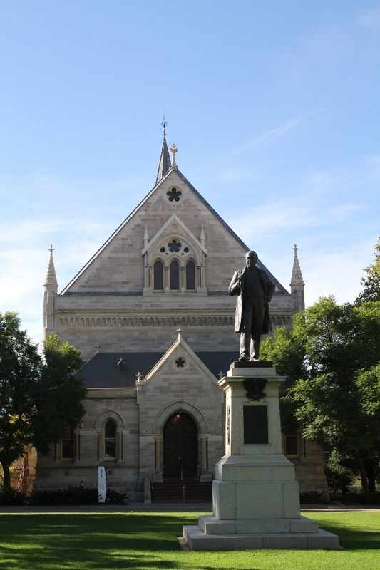 Elder Hall and Statue of Sir Thomas Elder, University of Adelaide, North Terrace, 2014