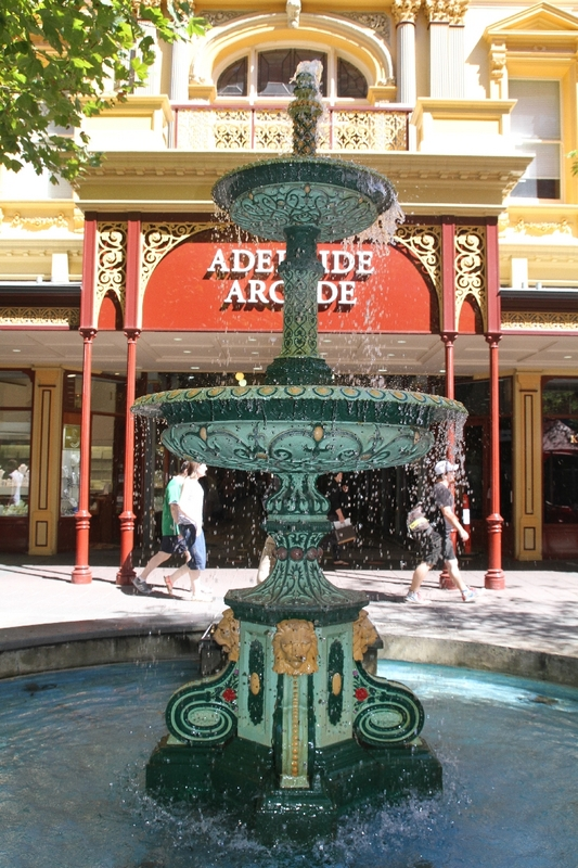 The Jubilee Exhibition Building fountain is now in front of Adelaide Arcade, Rundle Mall