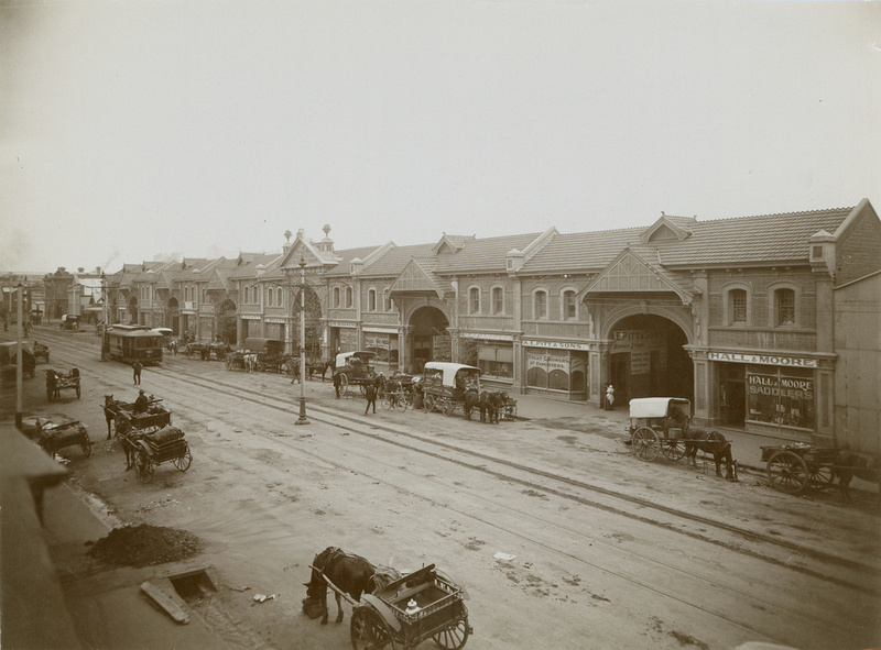 Market day at the Adelaide Fruit and Produce Market from Grenfell Street, c1911