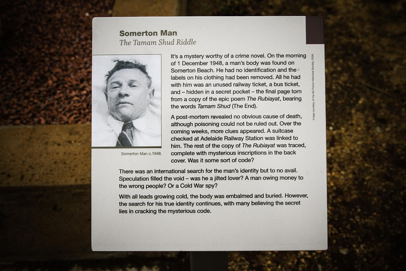 A plaque at the Somerton Man's grave, West Terrace Cemetery