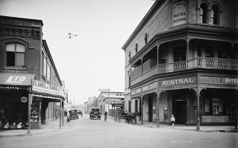 View of the Austral Hotel and Bent Street, c1929