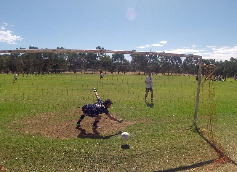 A soccer match in Veale Park