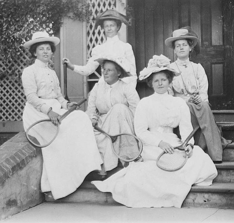 Tennis players on the steps of Dimora c.1900